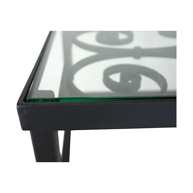 Early 20th Century Coffee Table With Antique Iron Scroll Work For Sale - Image 5 of 6