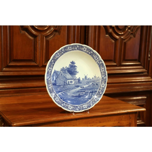 Ceramic Early 20th Century Dutch Hand-Painted Delft Platter With Pastoral Scene For Sale - Image 7 of 11