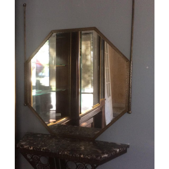 Edgar Brandt Wrought Iron Console Table and Mirror Set For Sale - Image 4 of 11