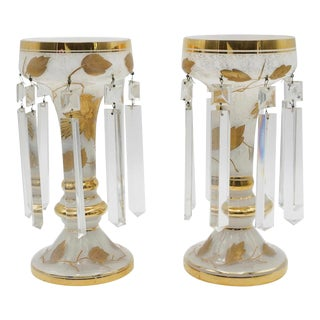Antique French Gold Leaf Opaline Luster - a Pair For Sale