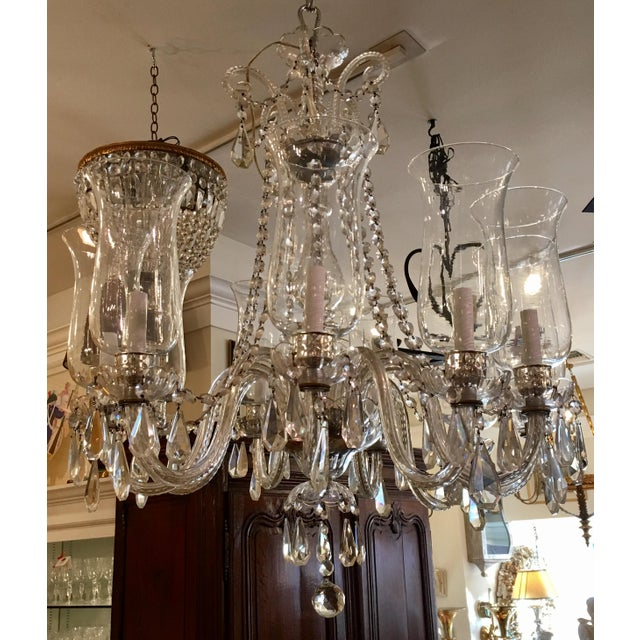 Superb vintage irish crystal chandelier w hurricane shades chairish superb vintage irish crystal chandelier w hurricane shades for sale image 5 of 5 aloadofball Image collections
