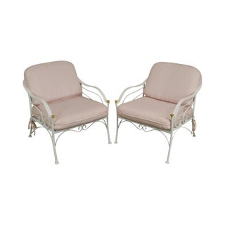 Woodard for Crown Leisure White Wrought Iron Pair Patio Lounge Chairs For Sale