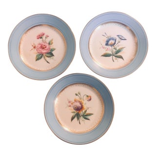 19th Century Hand Painted Floral Plates - Set of 3 For Sale