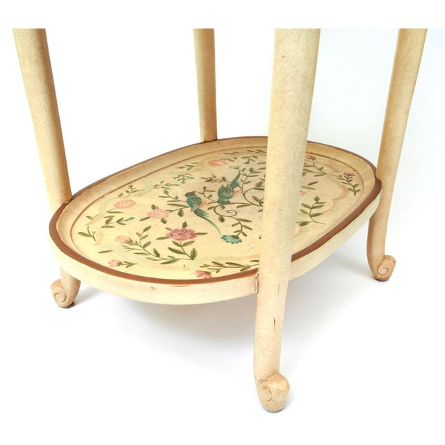Vintage Wood Hand Painted Serving / Side Tray Table For Sale - Image 11 of 13