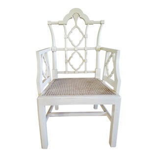 Chippendale Off-White Arm Chair For Sale