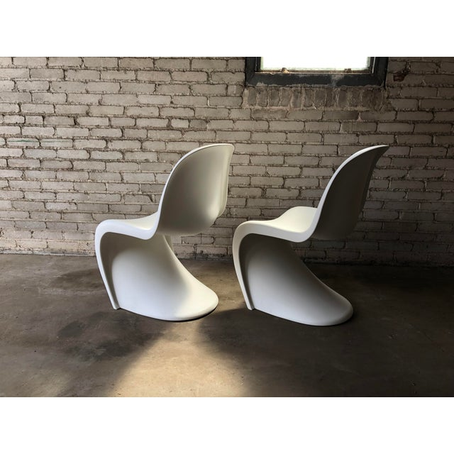 Mid-Century Modern Modern Vitra Panton Matte White S Chairs - A Pair For Sale - Image 3 of 13