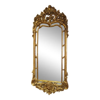 Italian Carved Wood Rococo Gilded Narrow Wall Mirror C1950 For Sale