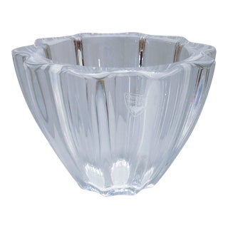 Vintage Orrefors Scalloped Crystal Bowl For Sale