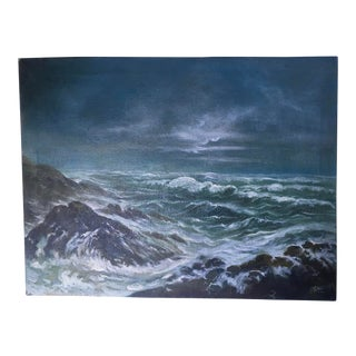 1930 Danish Seascape Oil Painting, Signed For Sale