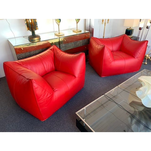 1970s Le Bambole Armchairs Red Leather by Mario Bellini for B&b Italia For Sale - Image 6 of 13