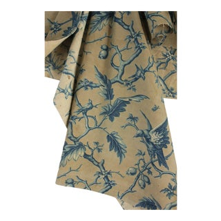 1860s French Prussian Blue Birds Woodblock Printed Linen & Cotton Grey Fabric For Sale