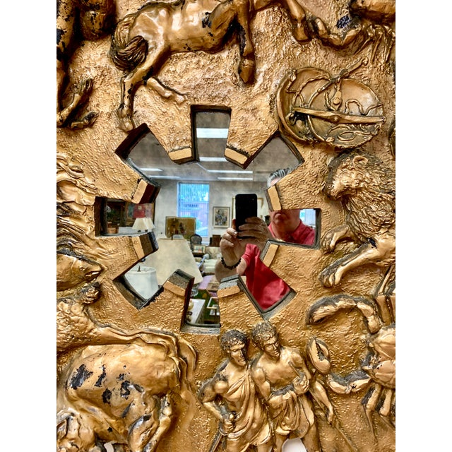 1970s Brutalist Round Gold Relief Zodiac Sign Mirror For Sale In New York - Image 6 of 10
