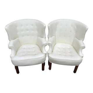 Wing Back Barrel Chairs - Pair (Final Discount) For Sale
