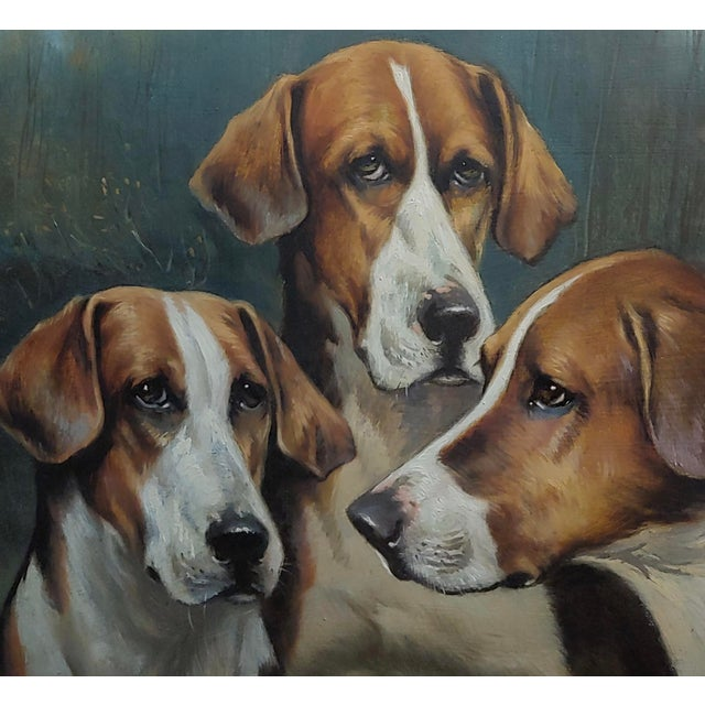 John Arnold Alfred Wheeler -Three English Fox Hounds -19th Century Oil Painting For Sale - Image 4 of 7