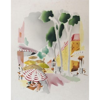 Benjamin Jorj Harris Airbrush Watercolor Street Scene For Sale