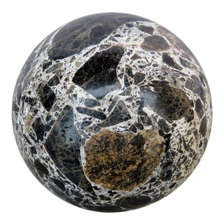 Vintage Decorative Conglomerate Stone Sphere For Sale