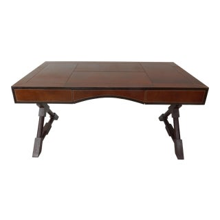 Leather Wrapped Desk With X Form Wood Base Stetson Leather 60 Inches For Sale