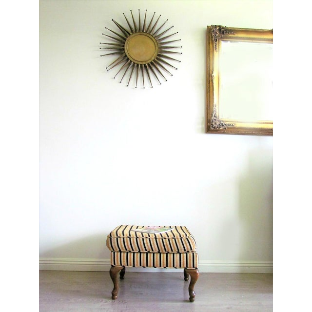 Wing-Back Striped Chair With Ottoman - Image 5 of 5