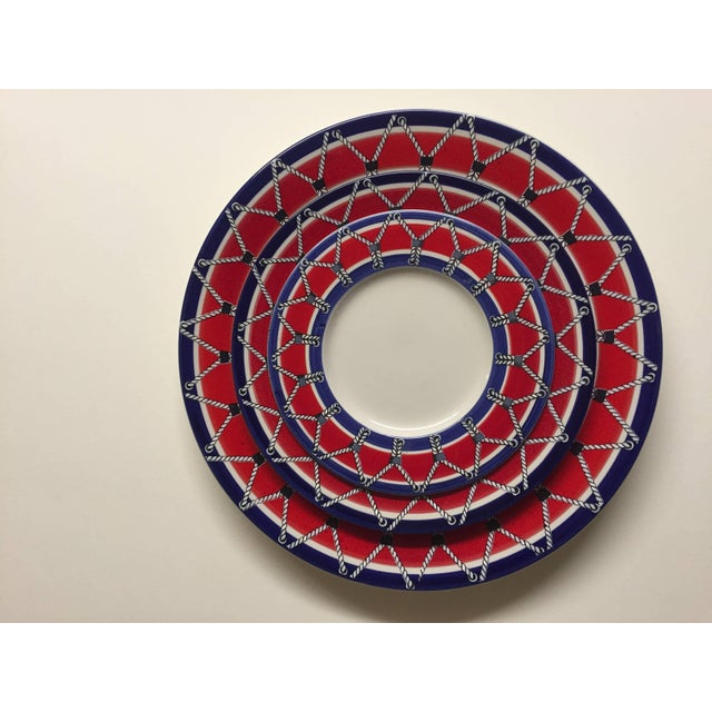 Red White and Blue Mancioli Drum Motiffe Dinnerware For Sale - Image 9 of 11