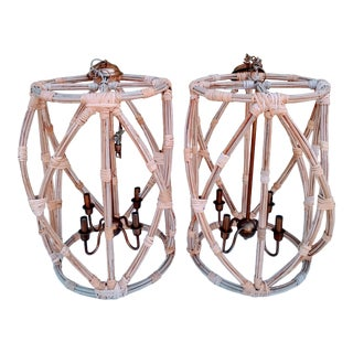 Massive Rattan and Brass Huge 4 Light Hanging Boho Chic Beachy Chandelier- a Pair For Sale