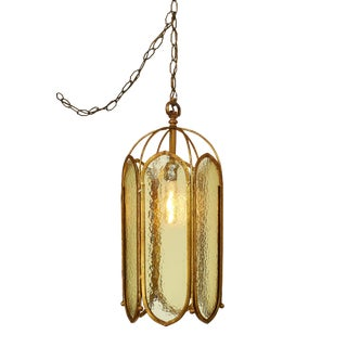 Caged Textured Glass Panel Pendant Fixture