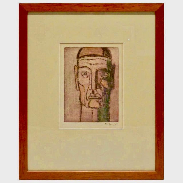 Original Cubist Movement Block Print Portrait - Image 9 of 9