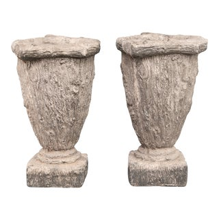 Large French Faux Bois Planters - a Pair For Sale