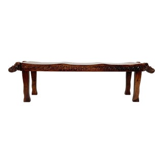 Anglo-Indian Three-Seat Bench With Decorative Elephant Head Carvings Circa 1970s For Sale