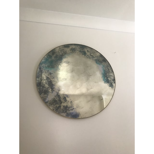 Round Color Washed Mirror For Sale - Image 6 of 7