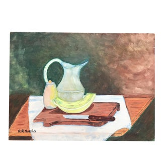Vintage Expressionist Still Life Oil Painting Signed 1959