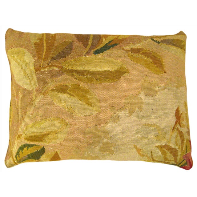 Antique French Aubusson Carpet Pillow For Sale - Image 4 of 4