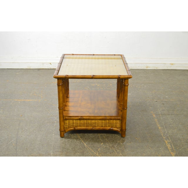 American of Martinsville Faux Bamboo & Wicker Side Table by American of Martinsville For Sale - Image 4 of 13