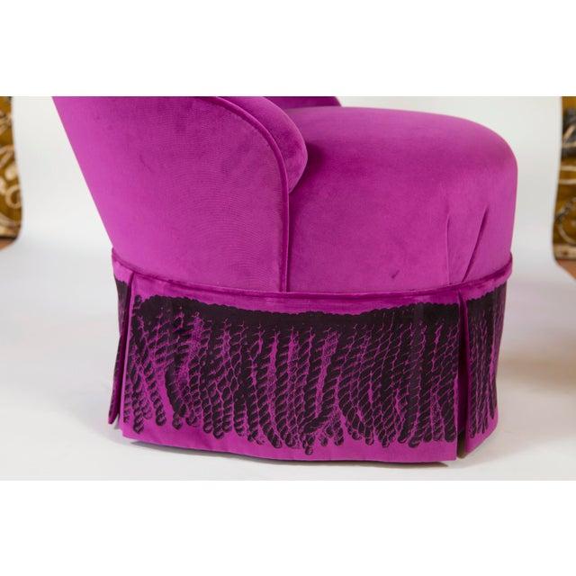 """2010s """"Minna"""" Velvet Boudoir Chair For Sale - Image 5 of 10"""