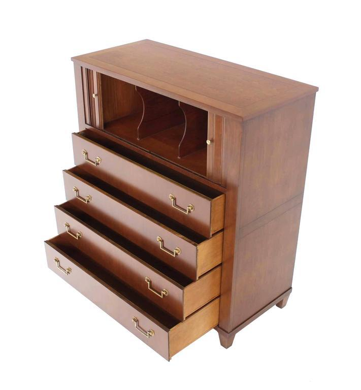 Baker Modern Five Drawer High Chest Tambour Door Compartment Brass Hardware  Pull   Image 5 Of