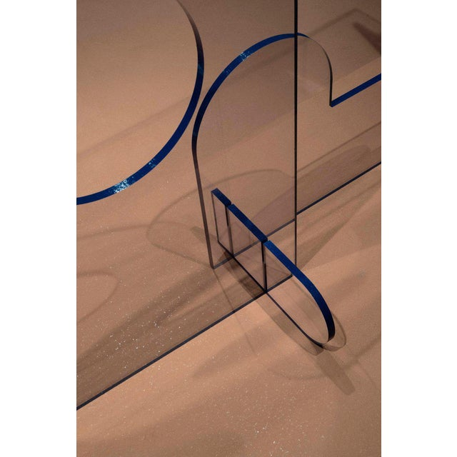 Modern Lexan Series Clear Lexan With Blue Oil Painted Edge Console Table by Phaedo For Sale - Image 3 of 4