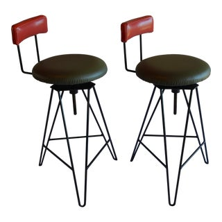 Mid Century Modern Italian Wrought Iron Adjustable Height Bar Stools- A Pair For Sale
