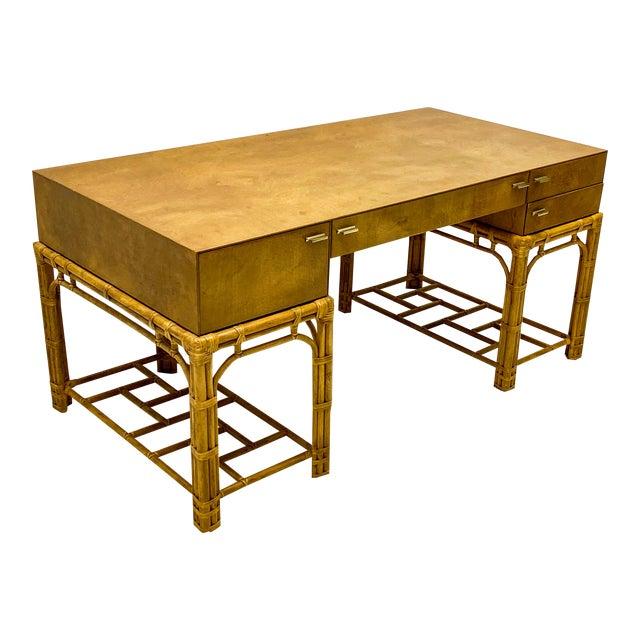 Henredon Circa East Burlwood & Bamboo Modern Desk For Sale