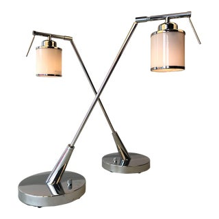 Modern Solid Chrome Desk Lamps, a Pair For Sale