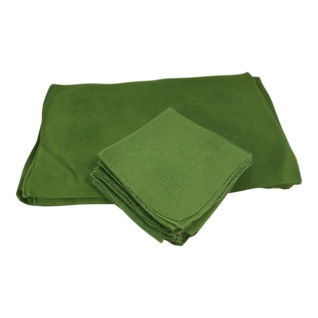 Vintage Lime Green Woven Placemats and Napkins - Set of 8 For Sale