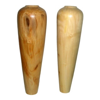 Turned Aspen Wood Vases - a Pair For Sale
