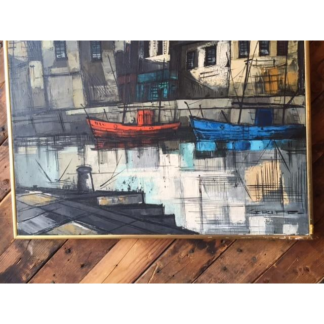 Mid Century Port Scape Oil Painting by M Edward Griff For Sale - Image 4 of 6