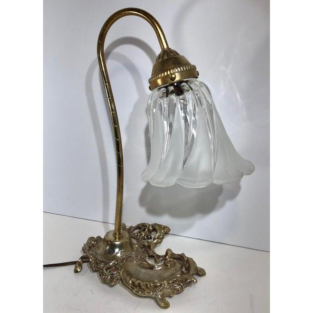 Vintage Victorian Brass Goose Neck Lamp Tulip Glass Shade Ink Holder Lamp Desk Side Table Light For Sale - Image 11 of 12
