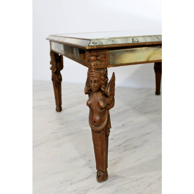 Antique Art Deco Carved Wood and Mirrored Glass Coffee Occasional Table For Sale In Detroit - Image 6 of 9