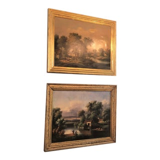 Pair Antique French Oil on Canvas Country Scenes, Circa 1890-1910.