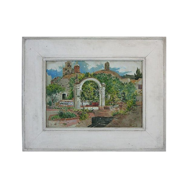Mexican Plaza Painting For Sale