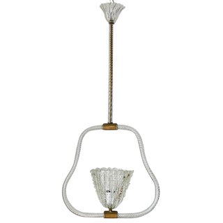 "Murano Glass ""Pulegoso"" Oval Bell Pendant by Ercole Barovier"