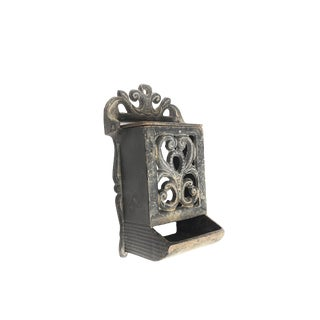 Turn of the Century Antique Solid Cast Iron Wall Mounting Match Holder For Sale
