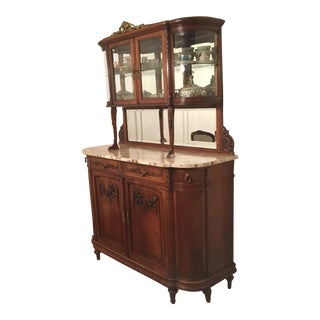 1930s Belle Epoque Hutch Server With Round Glass Sides For Sale