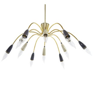 Mid-Century Modern Brass Sputnik Chandelier For Sale
