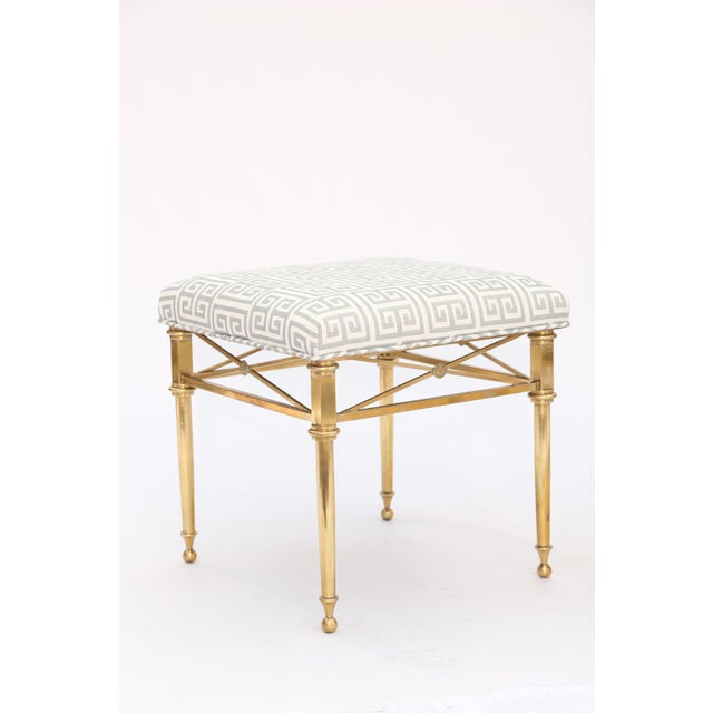 Hollywood Regency Pair of Brass Stools For Sale - Image 3 of 7